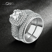 Top Quality Silver Color AAA+ Cubic Zirconia Rings Sets Fashion Brand Jewelry Wedding & Engagement Ring For Women DFR568