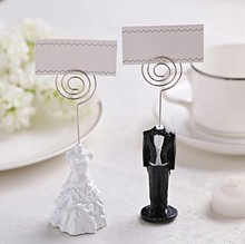Bride groom in tux and gown Place Card Holder 10Pair/LOT Wedding picture name holder frame