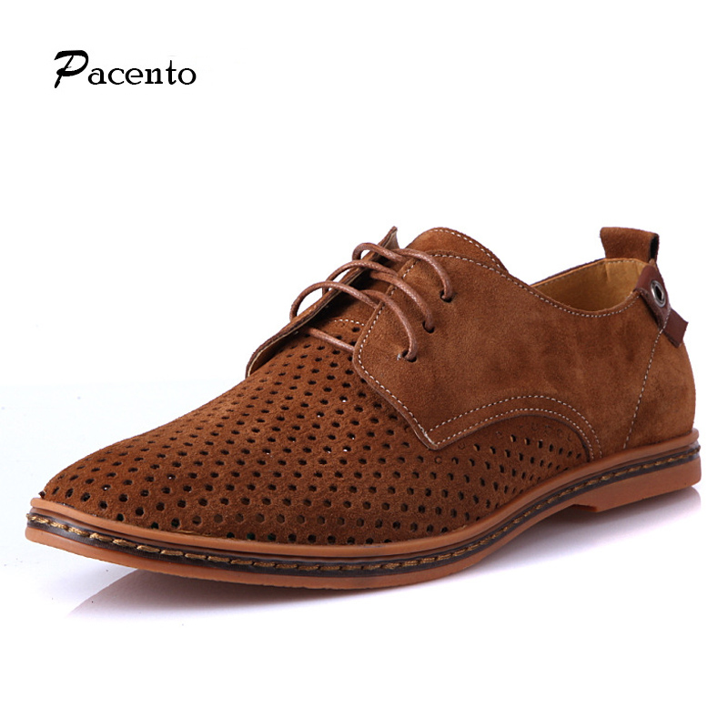 PACNETO luxury Brand Hollow Suede Shoes Men Casual Lace-up Flats Breathable British Style Shoes Big-size 11 12 Chaussure Homme<br>