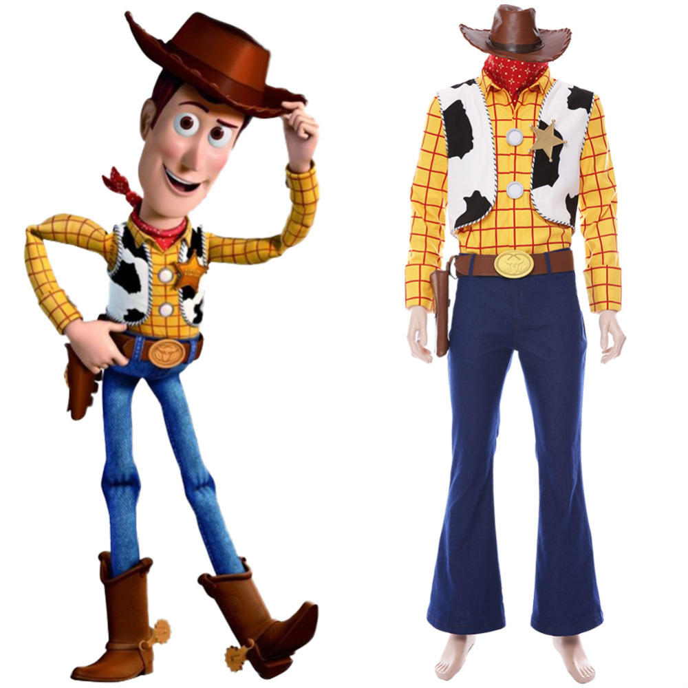 Toy Story Cosplay Cowboy Sheriff Woody Costume Hat Outfit Full Suit Halloween Carnival Party Cartoon Costume