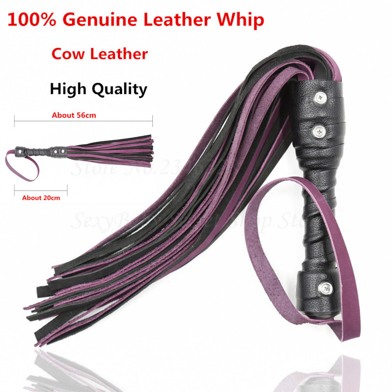 Genuine Leather Cowhide Whip Fetish Bdsm Sex Toys For Couples, Ass Spanking Paddle Flogger Flirting Bondage Lash Adult Games <br>