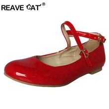REAVE CAT Big size 30-47 US16 New Sweet Candy Ladies Flat shoes Cute Flats Patent leather Glitter Buckle Rubber Black Red RL661(China)