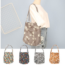 YILE Cotton Corduroy Shoulder Bag Eco Shopping Tote Colorful Triangle or Flower ZT17417(China)