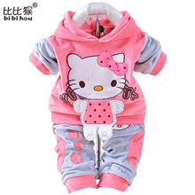 Summer Girls Boys Clothes Kids Set Velvet Hello Kitty Cartoon T Shirt Hoodies Pant Twinset Long Sleeve Velour Children Clothing
