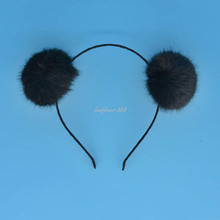 2017 Charm Women Girls Soft Furry Pompom Ball Headband Colorful Fluffy Ball Hair Band For Children Adults Party Headdress