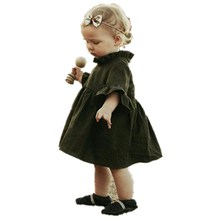 pudcoco 0-4Y Baby Girl Autumn army green special dress beb girls Party Child Winter Long Sleeve Princess Dresses Kids dress(China)