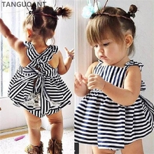 TANGUOANT Hot Sale Summer Girl Clothing Set Baby Wedding Suits Princess Stripe Kids Clothing Girls Clothes(China)