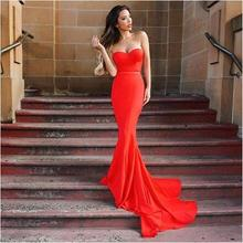 New Brand Mermaid Style Prom Dresses Red Chiffon Sweep Train Elegant Ladies Gown Vestido De Noche