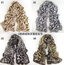 Sell lots of 2014 new 5 color leopard print scarf women leopard chiffon scarves winter scarves 5pcs/lot