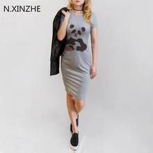 Women Fashion Summer Clothes Cute Panda Printing Women Solid Dress Around Neck Short Sleeve Knee Length Stylish Pencil Dress