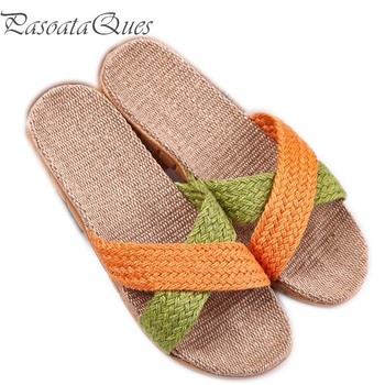 Hemp Men's Shoes House Bedroom Bathroom Indoor Slippers Slides For  Spring Summer Indoor Non-slip Women Flats Pasoataques Brand