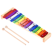 Colorful Glockenspiel Xylophone Wooden & Aluminum Percussion Musical Instrument Educational Toy 15 Tone(China)