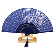 New Hot Sale Flower Pattern Hand Fan Bamboo Japanese Folding Fan Pocket Fan Blue Free Wedding Favours Shipping