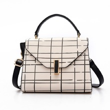 PU leather plaid tote handbag women's business OL bag shoulder crossbody phone pouch female bolso mujer bolsa feminina for girls(China)