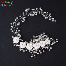 Bridal Floral Headband 100% Handmade Long Wedding Hair Combs Women Pearl Jewelry Hairband Bridal Tiara Wedding Hair Ornaments