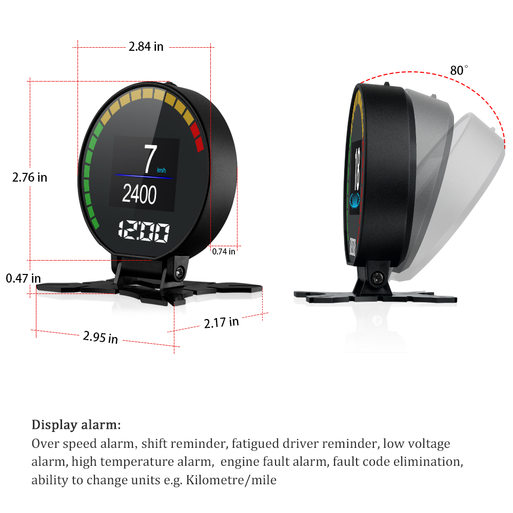 P15 Smart Car Head Up Display HUD with Windshield Digital Motor Speed Meters Projector OBD2EUOBD Interface for 99% of Vehicles_F4