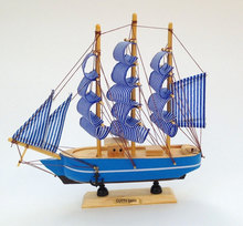 24CM Wooden Ship Model,mediterranean style nautical decor Blue sailing Ship,home decoration gifts handmade wooden Crafts(China)