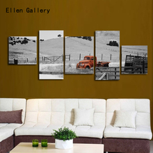 5Pcs/Set Red truck Modern Canvas Painting Picture Cuadros Decoration Wall Pictures For Living Room No Frame