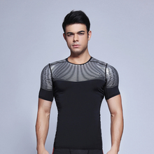 Men Quick-dry shirts summer Outdoor sports Run Fitness clothing Tennis badminton Short sleeve t-shirt jogging tee tops