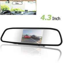 4.3 Inch color TFT LCD Screen Car Rear view Mirror Monitor Display With 2 Way Video Input For Rear View Camera(China)