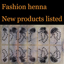 Flash black heart powder henna Nail Art Water Transfer Stickers Mixed Designs Watermark nails tips Decals Wraps Nail Art Tools