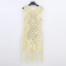 Art Deco Sequin Great Gatsby Dress Women Retro Sleeveless Nail Bead Tassels Dress Sexy Ladies 1920s Vintage Party Night Club(China)