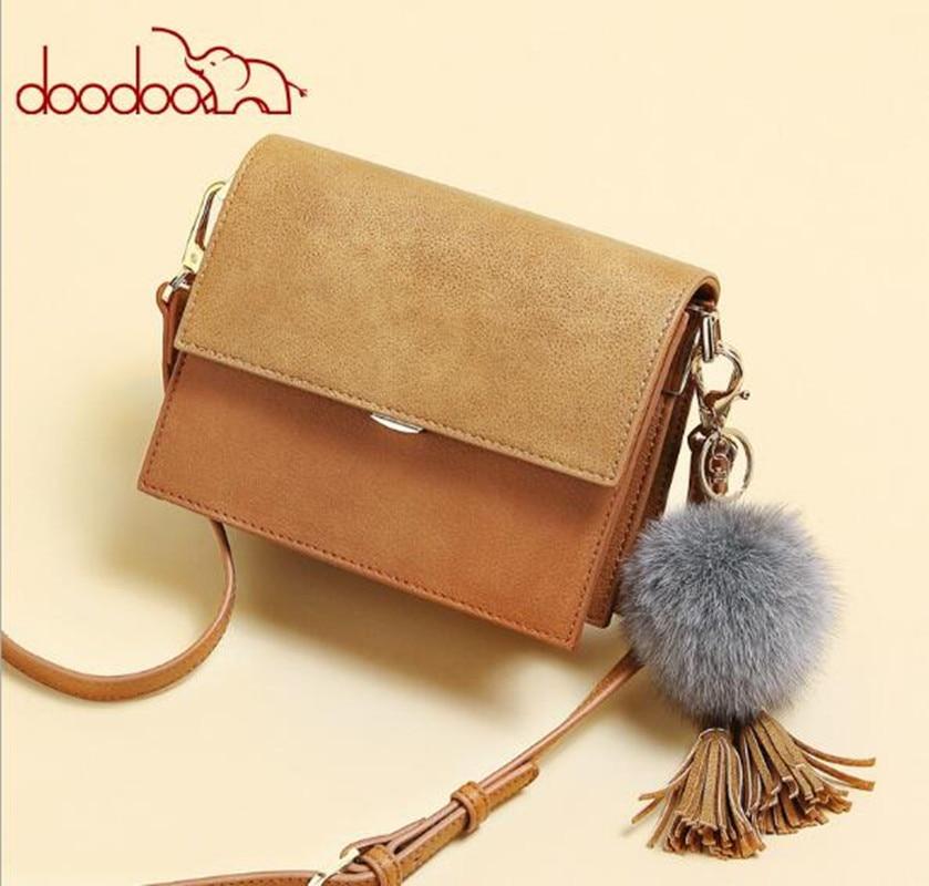 DOODOO brand women hairball handbag hotsale party purse ladies messenger crossbody shoulder bags girls bag bolsas FR614<br>