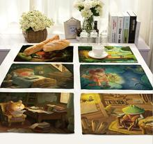 4Pcs/lot Printed Linen Placemat Place mat Table Mat cartoon animal  polyester Dinner Coaster Home textile Dec wholesale FG679