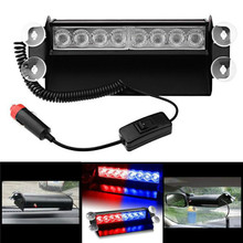8 Led Flash Boat Truck Car Flashing Warning Emergency Windshield Unit 3 Mode Police Strobe Light Lamp Blue Red Flashing Lamp
