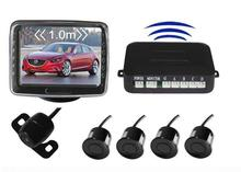 "Wireless vehicle rearview backup camera monitor video parking sensor system,3.5"" LCD monitor+reverse camera+4 DVD Parking sensor"