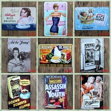 """Vintage Advertising"" retro iron metal wall painting Tin signs Vintage poster Art House Cafe Bar wall stickers home decor(China)"