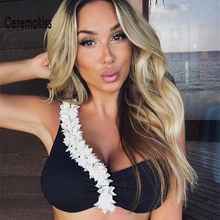Newest 2017 One Shoulder Sexy Two Piece SwimSuits Brand Swimwear Women Bathing Suit Swimsuit Solid  White Black XL