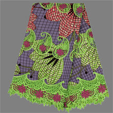 Gorgeous design African ankara batik wax fabric with cord mesh lace for evening  dress SLW30 (6yards lot) 00560af34b2e