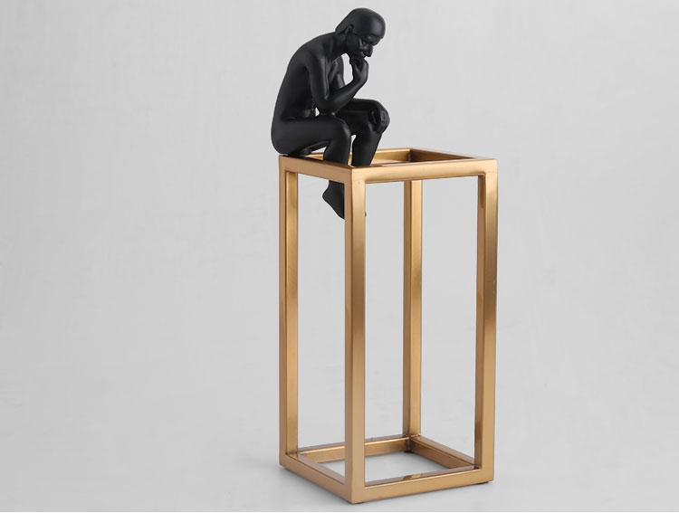 Thinking of Rodin Sculpture Postmodern Thinker Small Black Metal Stainless Steel Frame Home Decoration Room Figure Adornment 10