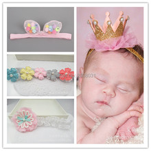 Korea Summer Lace Flower Kids Headband Colorful Ball Rabbit Ears Hair Ties Gold Bow Hair Bands Crown Hair Accessories For Girls