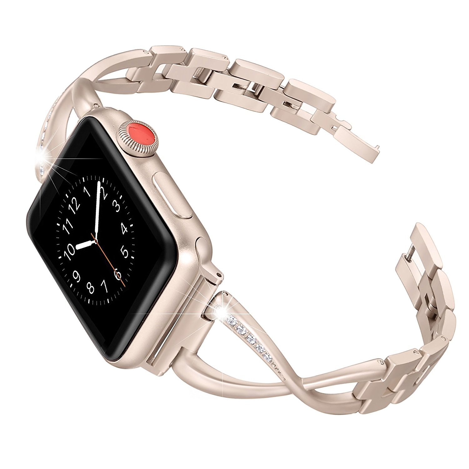 Apple Watch Band Strap Crystal Bling Rhinestone Bracelet Stainless Steel 44Mm/ 40Mm/ 42Mm/ 38Mm For Iwatch Series 1 2 3 4