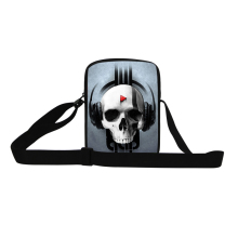 Skull print Mini Messenger Bag for Children Mens mini crossbody Bag Ghost head print shopping bag for boy,youth cool square bag