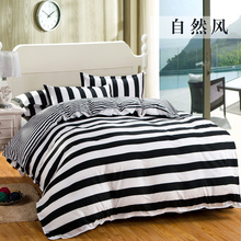 High-quality Black& white striped Plaid  Bedding set Cotton 1 bed sheet +1 duvet cover + 2 pillow cover dekbedovertre bedspread