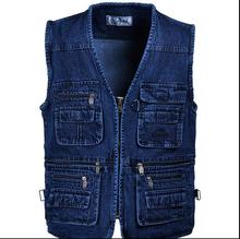 Free shipping Male Denim Vests Men 3XL 4XL 5XL Vest Mens Outdoors Cotton Multi Pocket Sleevless Jean Jacket Men Jeans Masculino