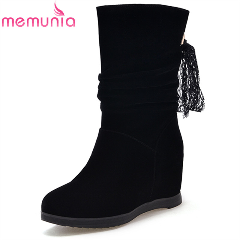 MEMUNIA fashion autumn winter new arrive women boots black round toe height increasing ladies boots cross tied ankle boots<br>