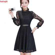 New Summer Temperament Elegant Lace Dress 2017 Slim Solid Women Dresses Long Sleeve Sexy Dresses Ladies Dres Femlae Vestidos R11