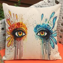 Factory Supply  Latest Design Colorful Eyes Printing Short Soft Plush Decorative Pillow Cushion For Girls Gift
