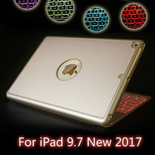 High-Quality 7 Colors Backlit Light Wireless Bluetooth Keyboard Case Cover For iPad 9.7 New 2017 A1822 A1823 + Film + Stylus(China)