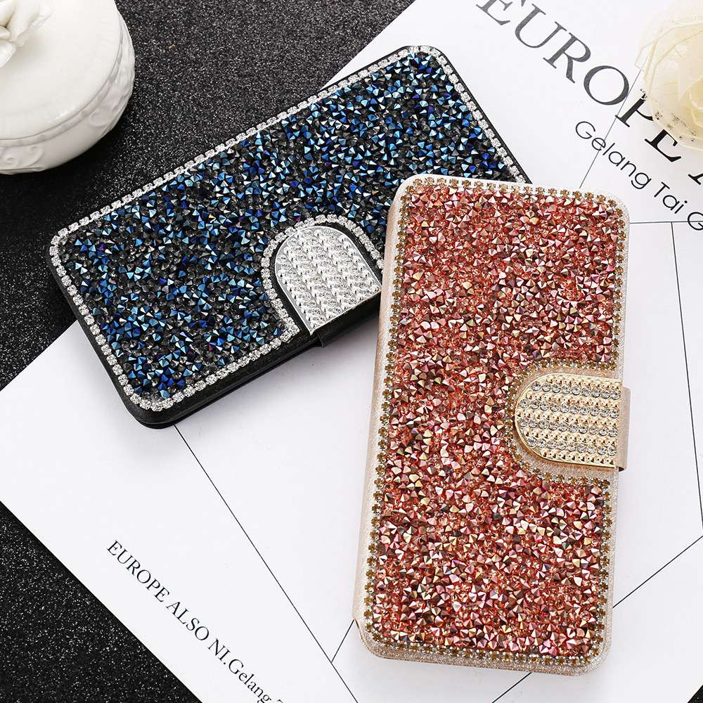 KISSCASE Glitter Leather Flip Phone Case iPhone 6 6S 7 8 Plus 5 5S SE Bling Diamond Stand Wallet Back Cover Shells Capinhas