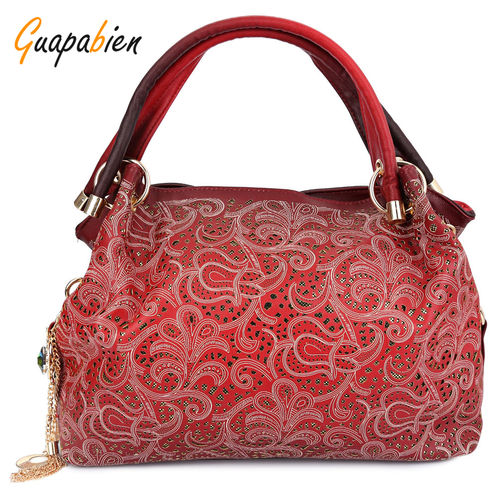 Guapabien Women Bag Floral Print Ombre Shoulder Bags Ladies OL Party Wedding PU Leather Tote Bag Red Gray Hollow Out Handbag<br><br>Aliexpress