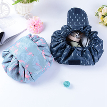 Animal Flamingo Cosmetic Bag Professional Drawstring Makeup Case Women Travel Make Up Organizer Storage Pouch Toiletry Wash Kit(China)