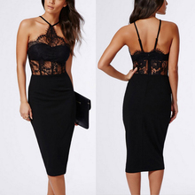 2018 Sexy Womens Off Shoulder Backless Evening Party Clubwear Dress Embroidery Lace Elegant Halter Dresses Vestidos de Festa