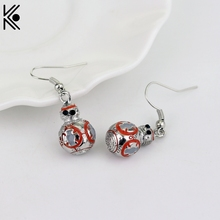 Latest Movie Jewelry Star Wars BB8 Earrings New design Star Wars BB-8 Robot Character Silver tone 3D Pendant women Accessory(China)