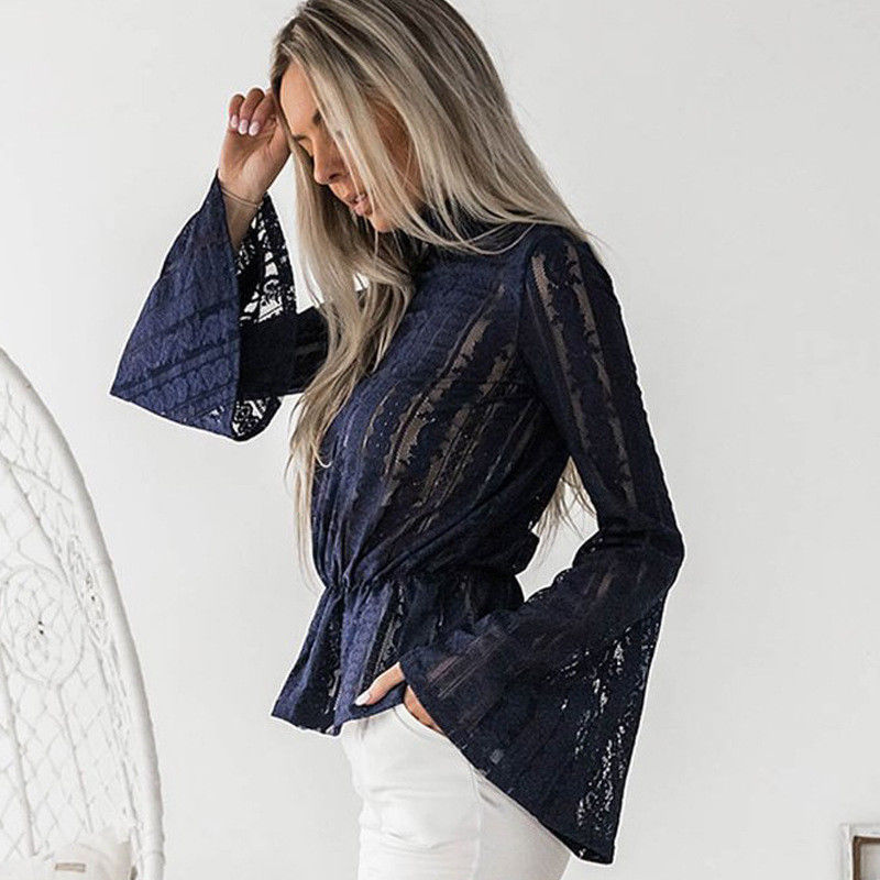 DeRuiLaDy 2018 Women Lace Blouse Shirt Elegant Flare Sleeve Long Sleeve Sexy Transparent Shits Casual Stand Chiffon White Tops 9