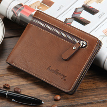 2017 Hot Sale Top Quality Leather Brand Wallet Men Vintage Cross Solid Zipper Short Men Purse Wallet Cards Holder Money Bag Male